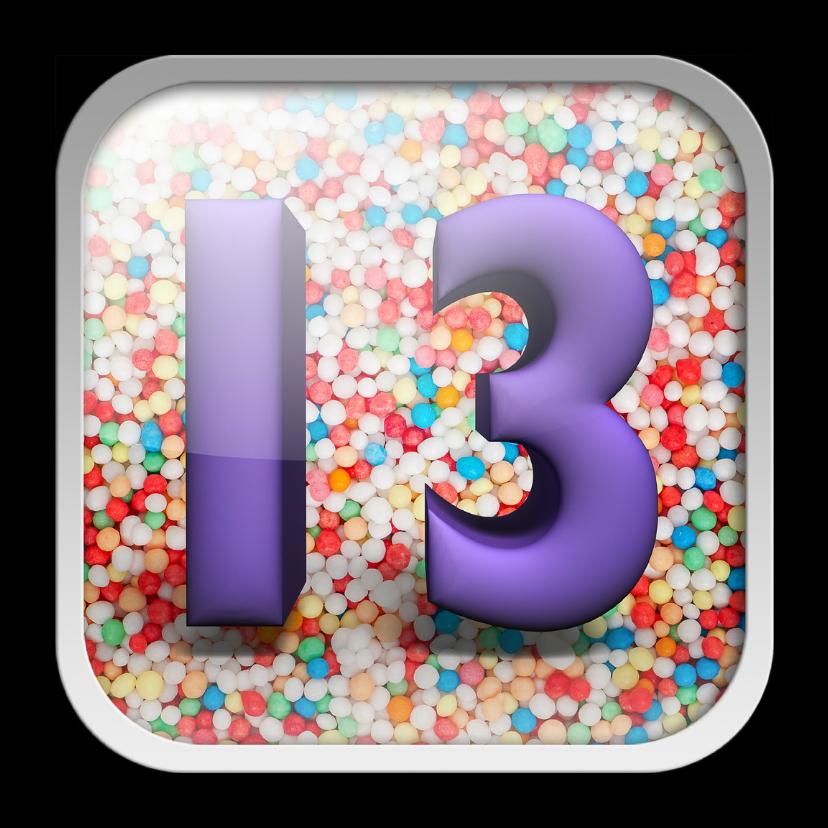 Verjaardagskaarten - 13 jaar app met feestelijke achtergrond