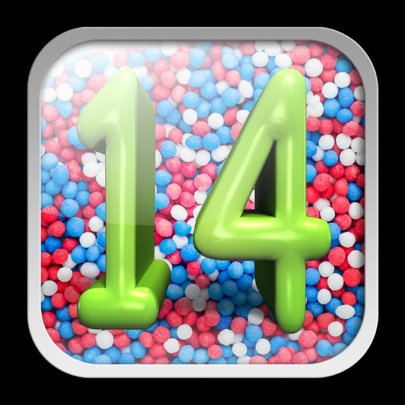 Verjaardagskaarten - 14 jaar app met vrolijke achtergrond