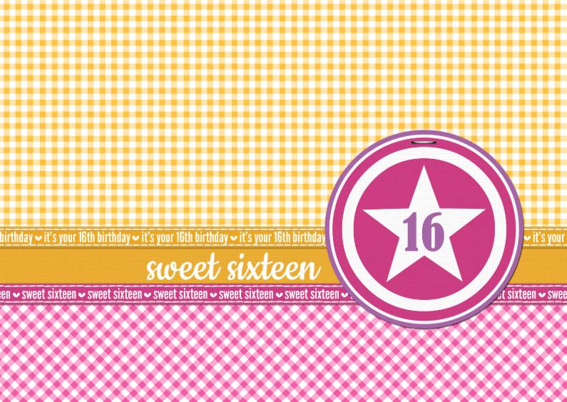 Verjaardagskaarten - 14172 Sweet sixteen ruitjes