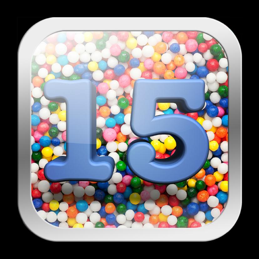 Verjaardagskaarten - 15 jaar app met vrolijke achtergrond