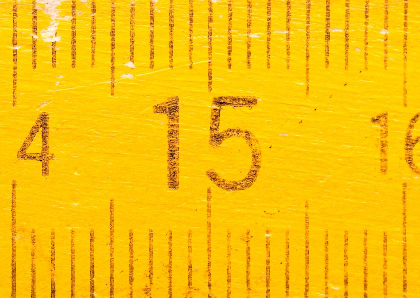 Verjaardagskaarten - 15 jaar op gele duimstok