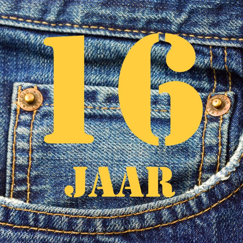 Verjaardagskaarten - 16 jaar spijkerbroek