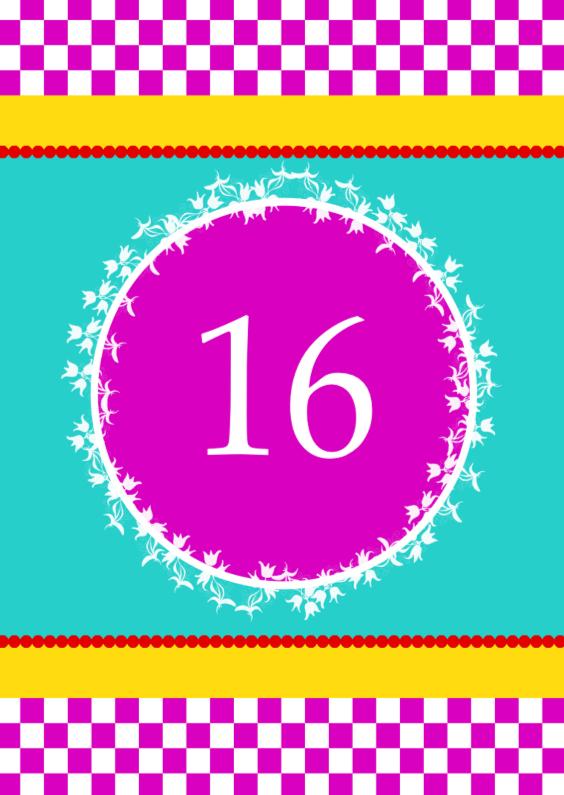 Verjaardagskaarten - 16 roze ruitjes