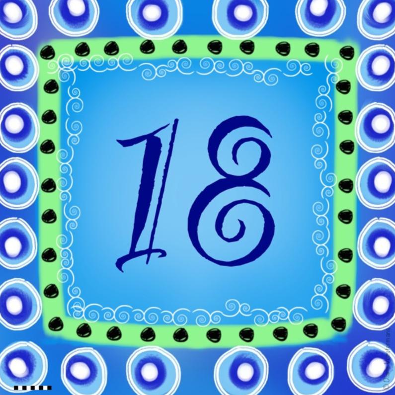 Verjaardagskaarten - 18 jaar blauw cirkels