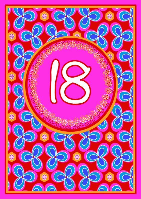 Verjaardagskaarten - 18 jaar bloemetjes
