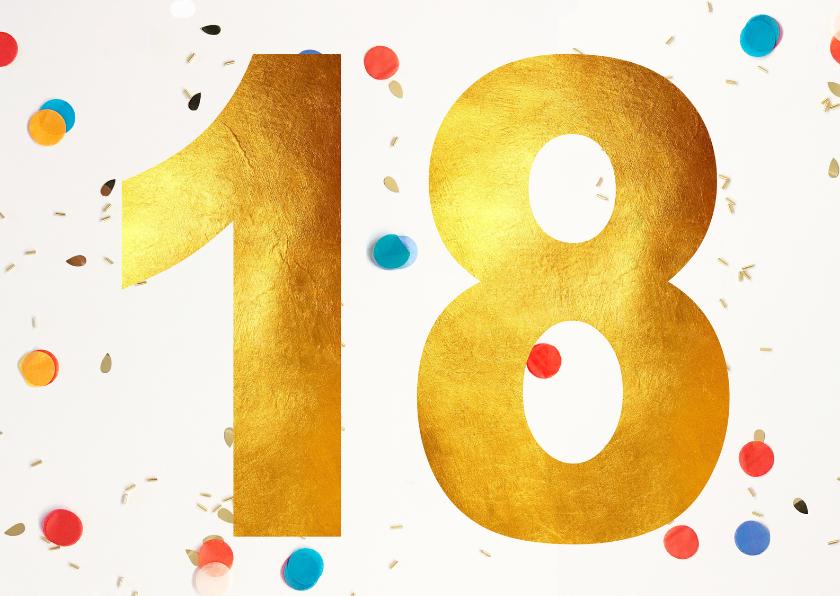 Verjaardagskaarten - 18 jaar felicitatie confetti
