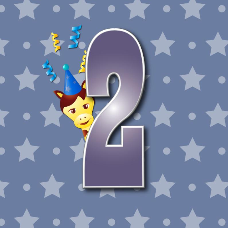 Verjaardagskaarten - 2 jaar girafje