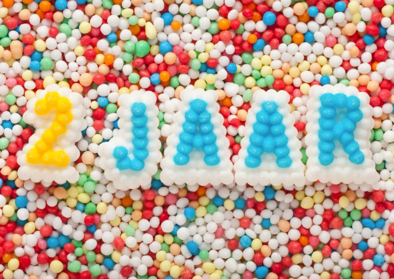 Verjaardagskaarten - 2 JAAR van suikerletters