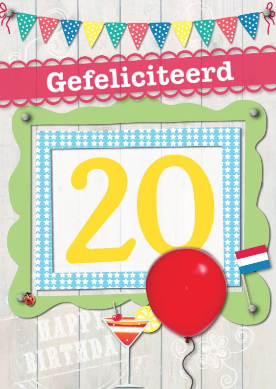 Verjaardagskaarten - 20 jaar gefeliciteerd L02
