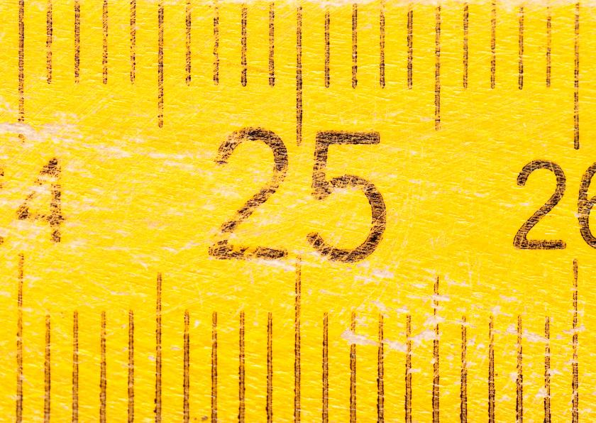 Verjaardagskaarten - 25 jaar op gele duimstok