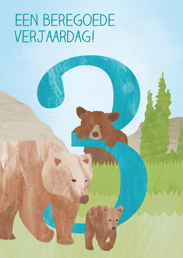 Verjaardagskaarten - 3 jaar met beren