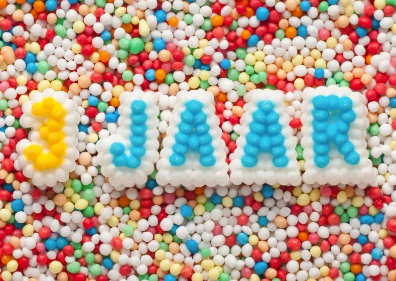 Verjaardagskaarten - 3 JAAR van suikerletters