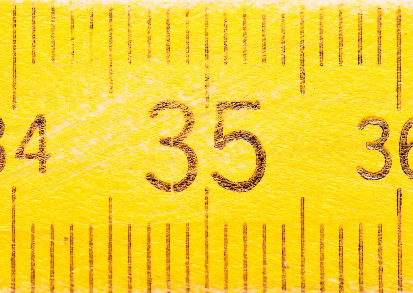 Verjaardagskaarten - 35 jaar op gele duimstok