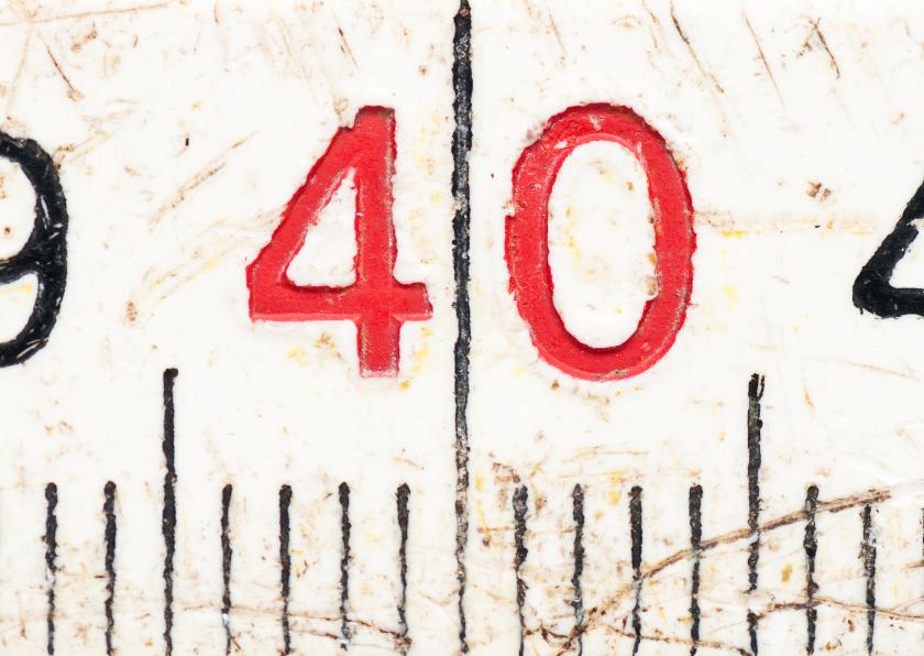 40 op oude witte duimstok 1
