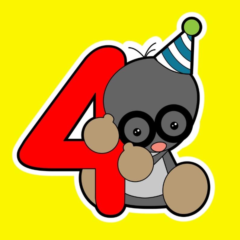Verjaardagskaarten - 4e verjaardag met mol