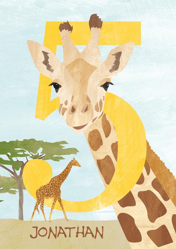 Verjaardagskaarten - 5 jaar met giraf