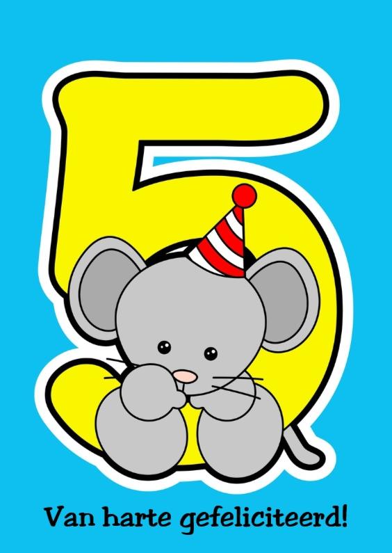 Verjaardagskaarten - 5 jaar met muis