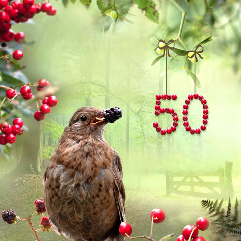 Verjaardagskaarten - 50 jaar in bessenmotief