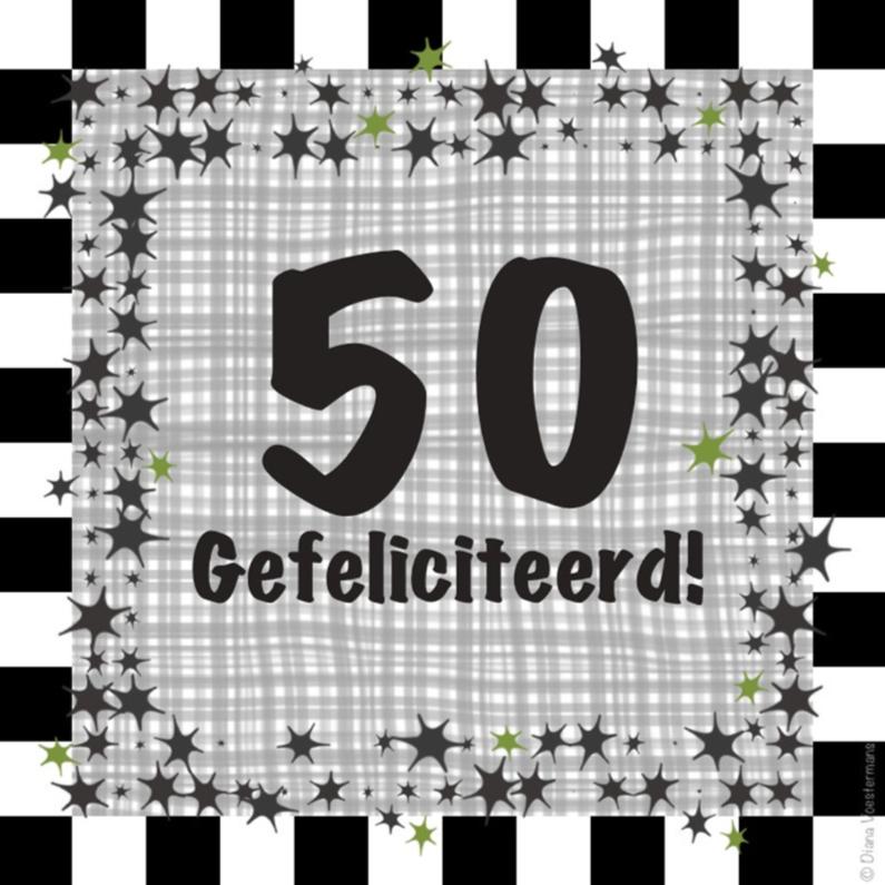 Verjaardagskaarten - 50 ruitjes en sterren