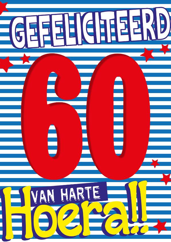 Verjaardagskaarten - 60 jaar van harte hoera -BF