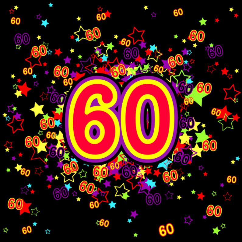 Verjaardagskaarten - 60 Vrolijke kaart met sterren