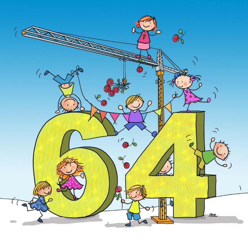 Verjaardagskaarten - 64 jaar flip en anke