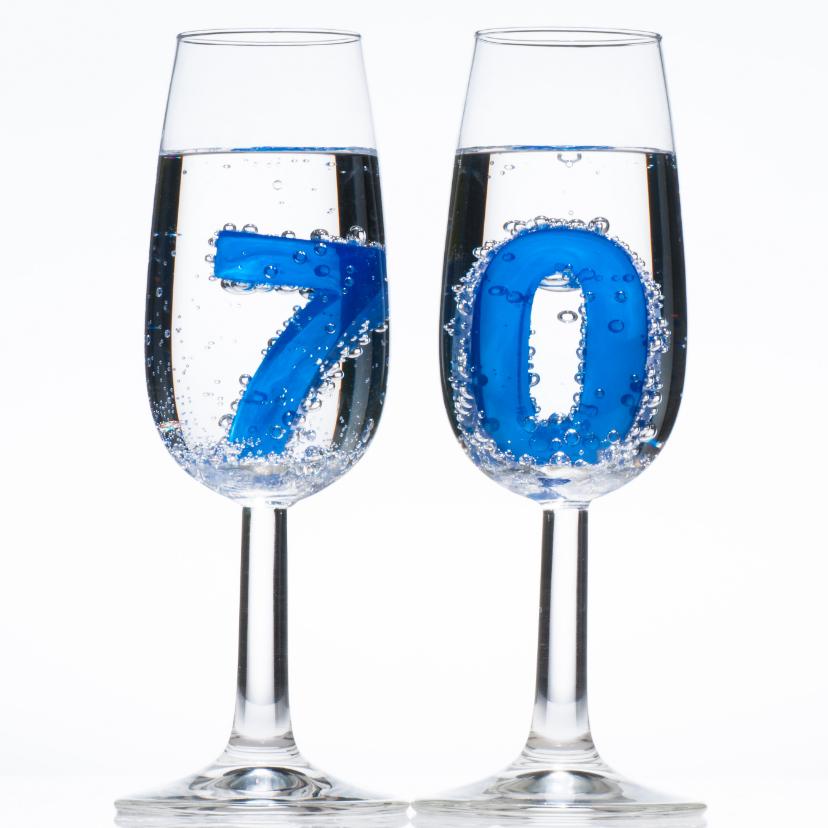 Verjaardagskaarten - 70 in champagne glazen met bubbels
