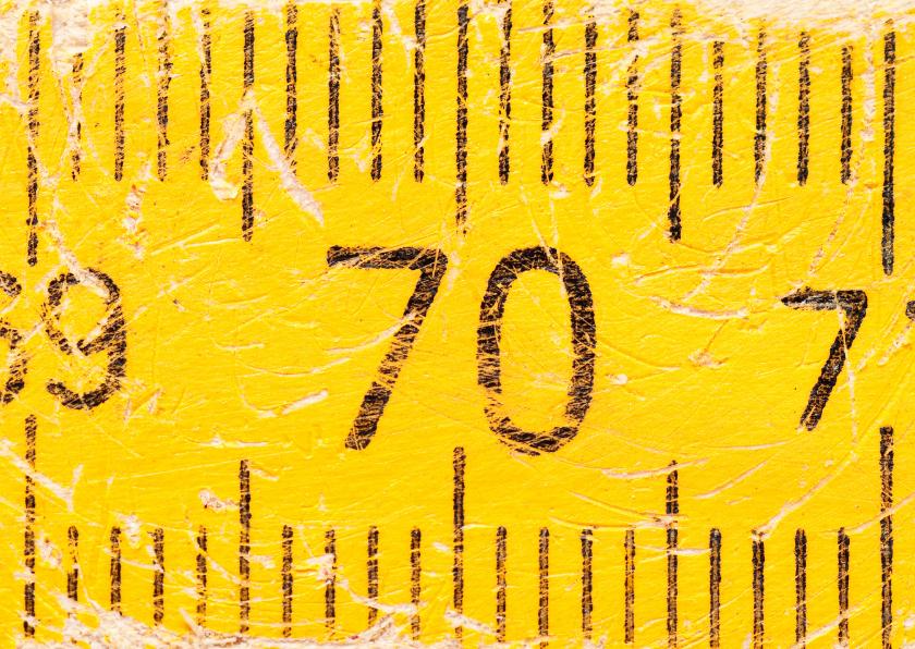 Verjaardagskaarten - 70 op oude gele duimstok