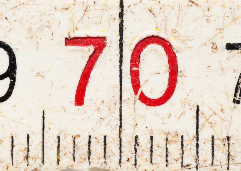 Verjaardagskaarten - 70 op oude witte duimstok