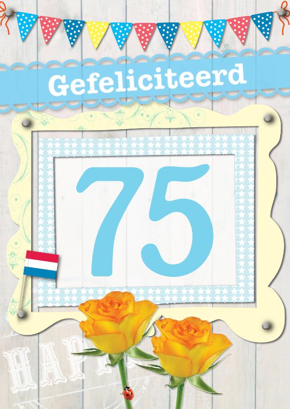Verjaardagskaarten - 75 gefeliciteerd-ByF