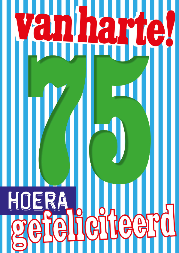 Verjaardagskaarten - 75 jaar gefeliciteerd-BF