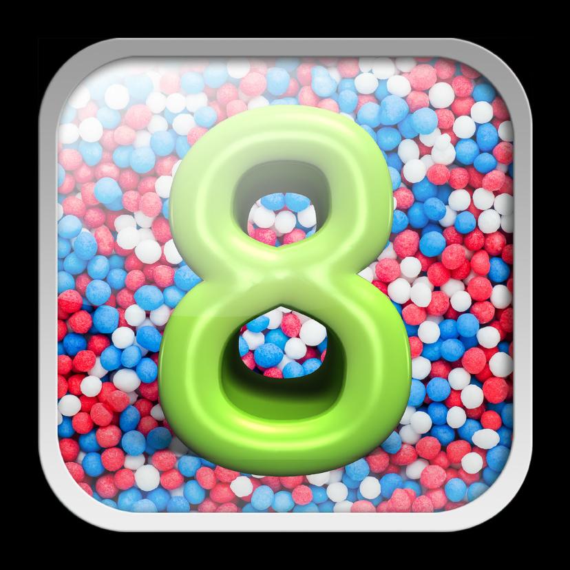Verjaardagskaarten - 8 jaar app met feestelijke achtergrond