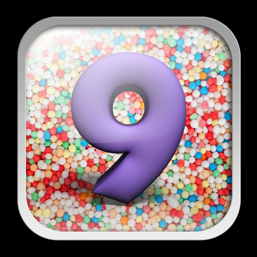 Verjaardagskaarten - 9 jaar app met feestelijke achtergrond