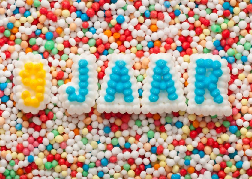 Verjaardagskaarten - 9 JAAR van suikerletters