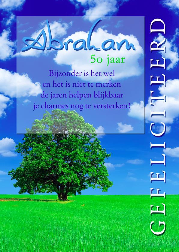 Felicitatiekaarten - Abraham 50 jaar met boom