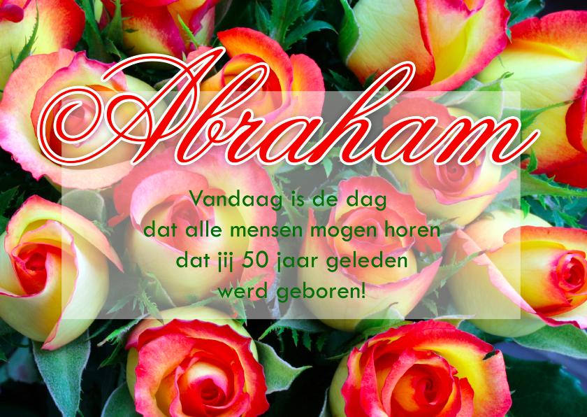 Verjaardagskaarten - Abraham 50 jaar met rozen