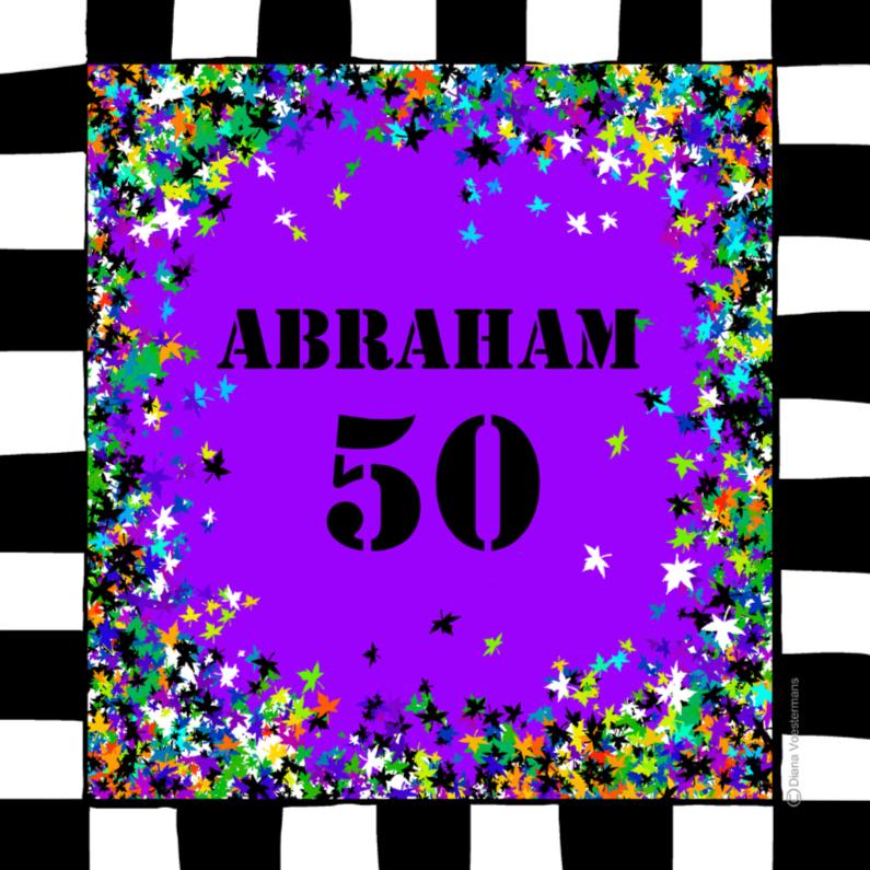 Verjaardagskaarten - ABRAHAM 50 paars