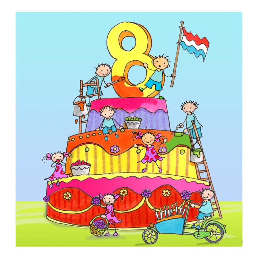 Verjaardagskaarten - acht jaar anet illustraties