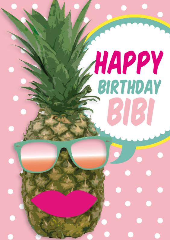 Verjaardagskaarten - Ananas party met zonnebril