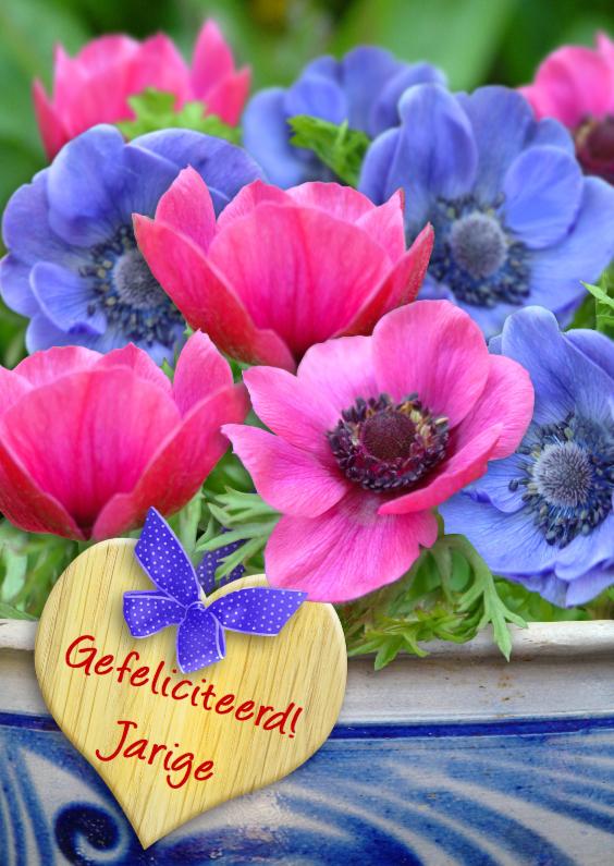 Verjaardagskaarten - Anemonen met hart van hout S