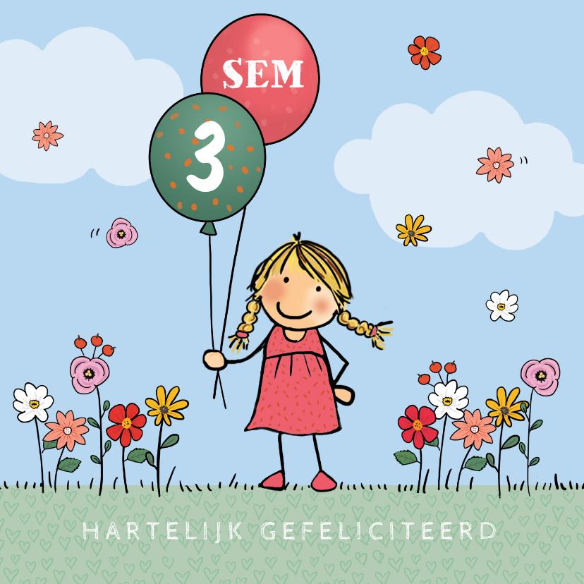 Verjaardagskaarten - Anke met ballon met cijfer