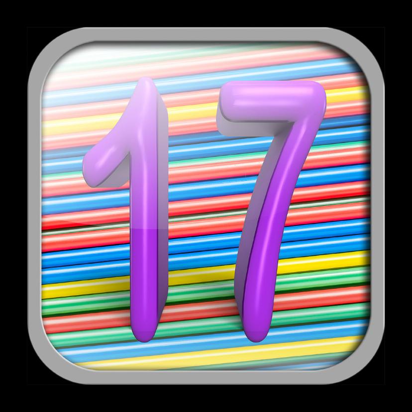 Verjaardagskaarten - App icoon met het cijfer 17