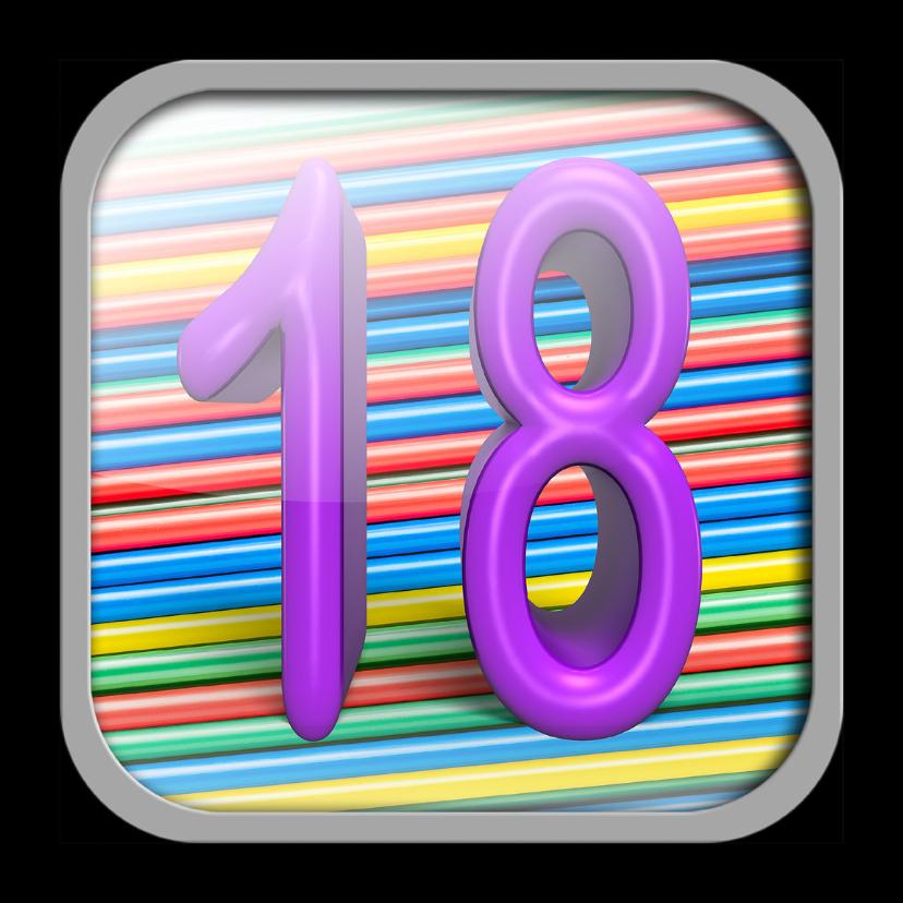 Verjaardagskaarten - App icoon met  leeftijd 18