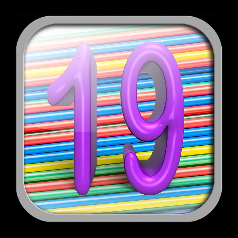 Verjaardagskaarten - App icoon met leeftijd 19