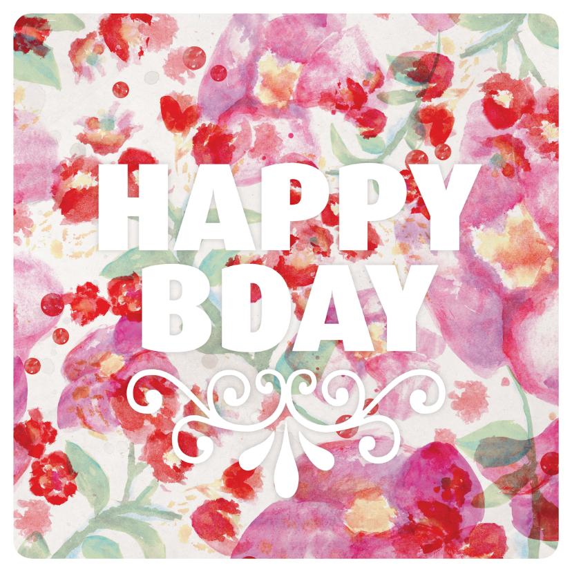 Verjaardagskaarten - Aquarel bloemen verjaardag kaartje