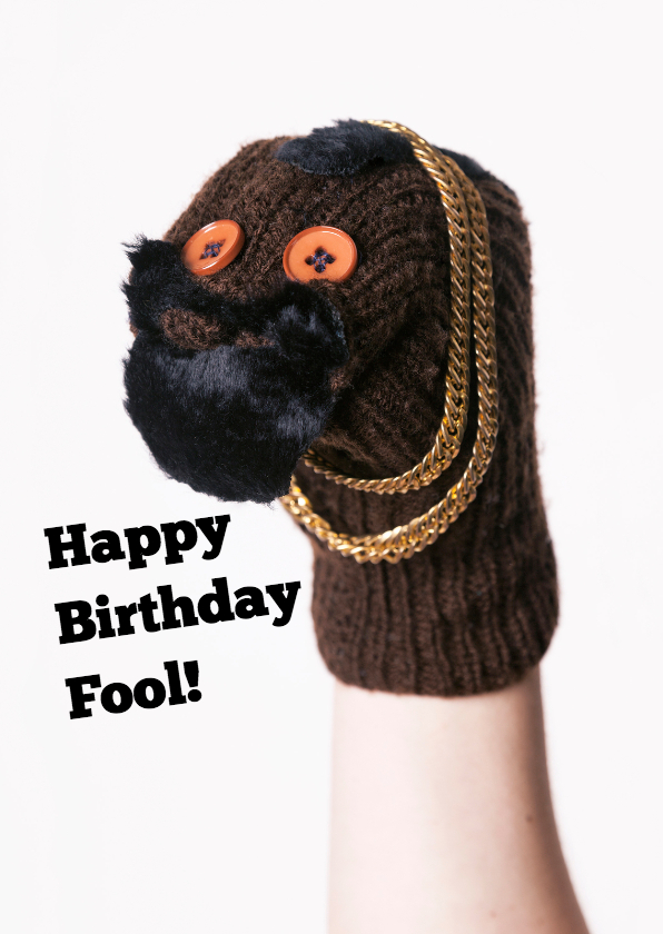 Verjaardagskaarten - BA sokkenpop Happy Birthday Fool