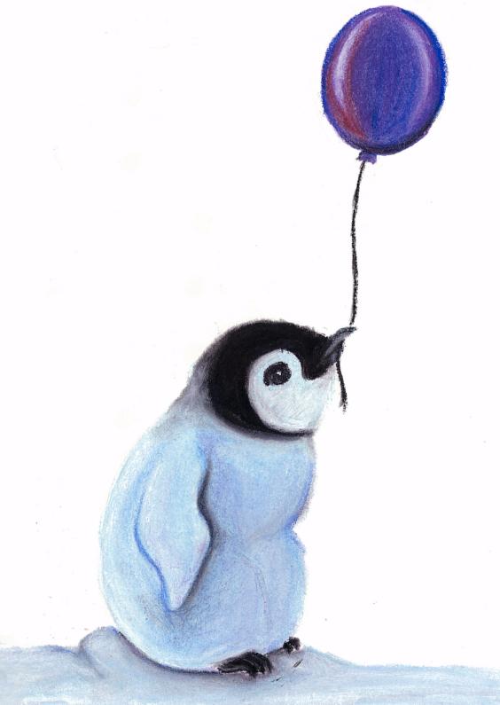 Verjaardagskaarten - Babypinguin met ballon1