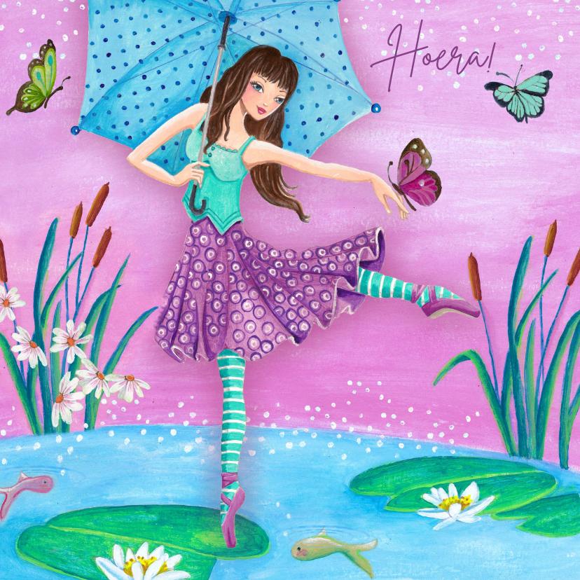Verjaardagskaarten - Ballerina Ballet Jarig Vlinder