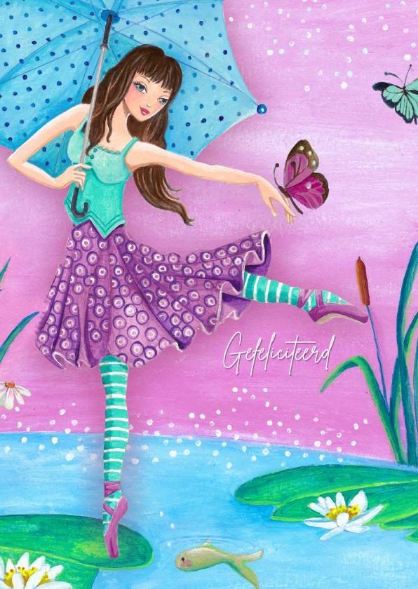 Verjaardagskaarten - Ballerina Ballet Vlinder Jarig