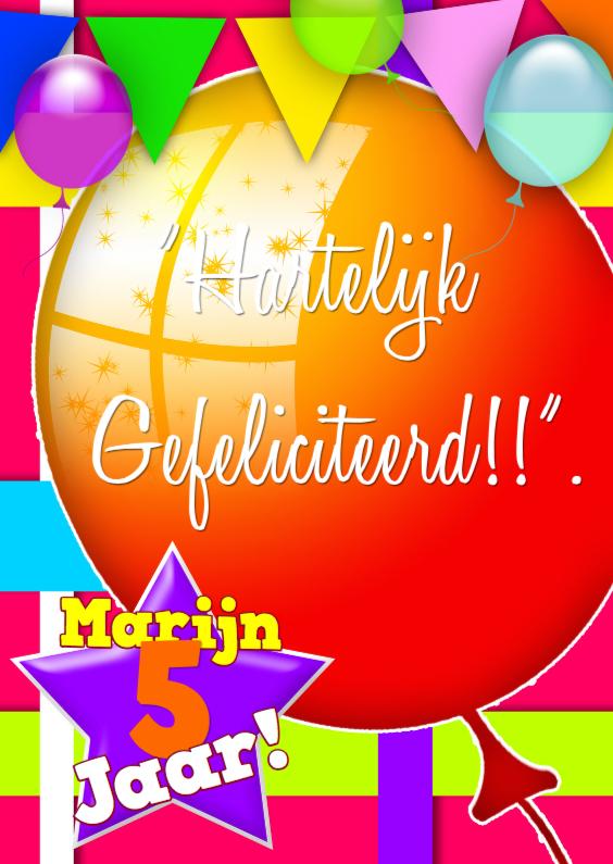 Verjaardagskaarten - ballonnen plaats zelf tekst a